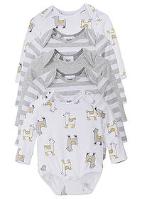 Body bebe (5buc.), bumbac eco gri melanj/alb imprimat bpc bonprix collection 0