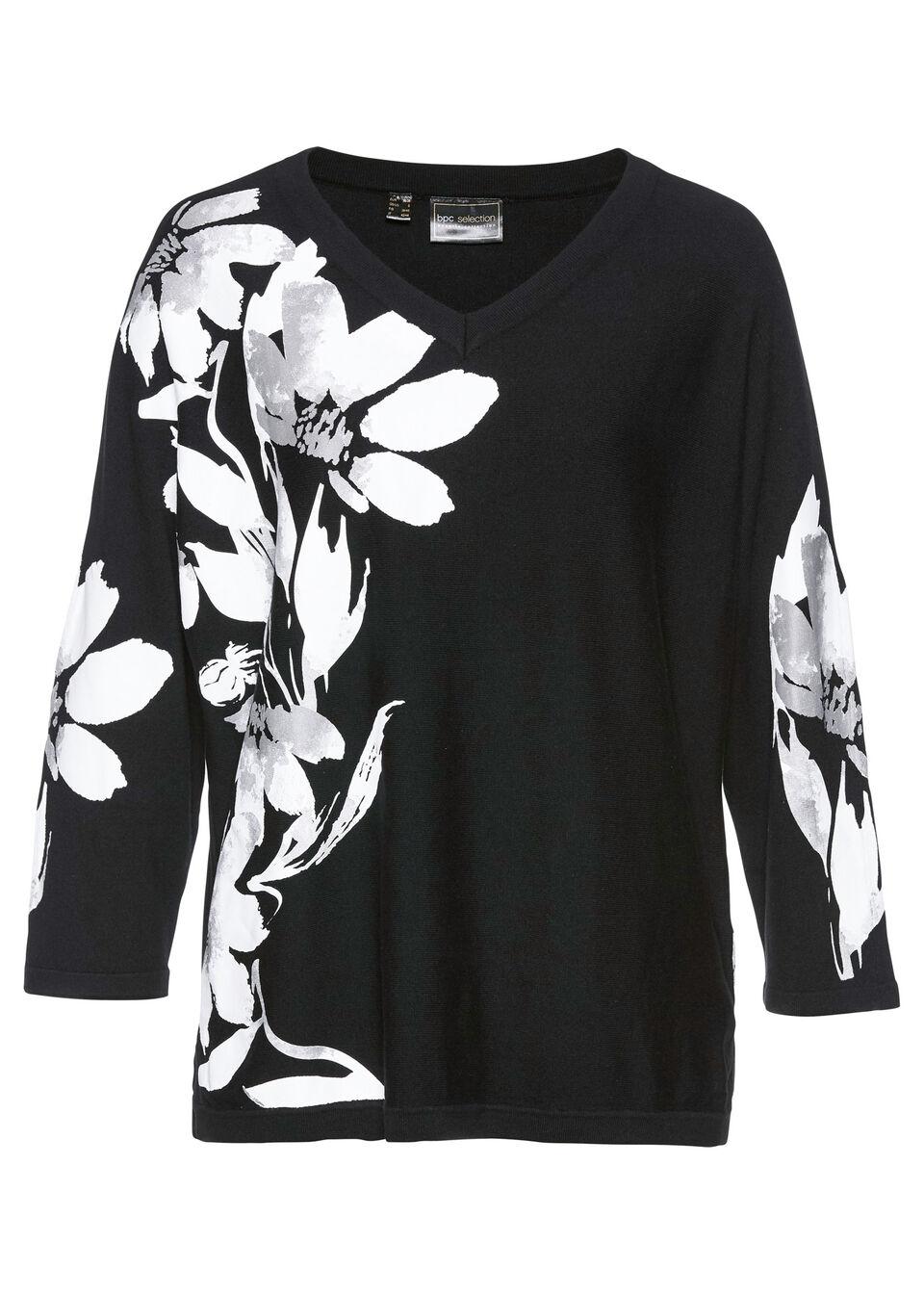 Sweter z kwiatowym nadrukiem LENZING™ ECOVERO™ bonprix czarno-biały w roślinny wzór