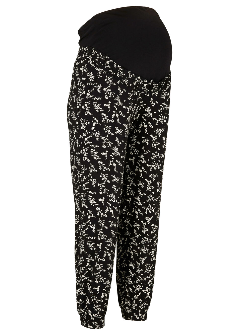 Spodnie ciążowe bonprix czarny w kwiaty