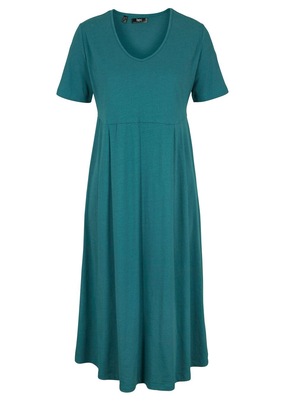 Sukienka bawełniana z dżerseju, midi bonprix Sukienka baw z dżer z.piep