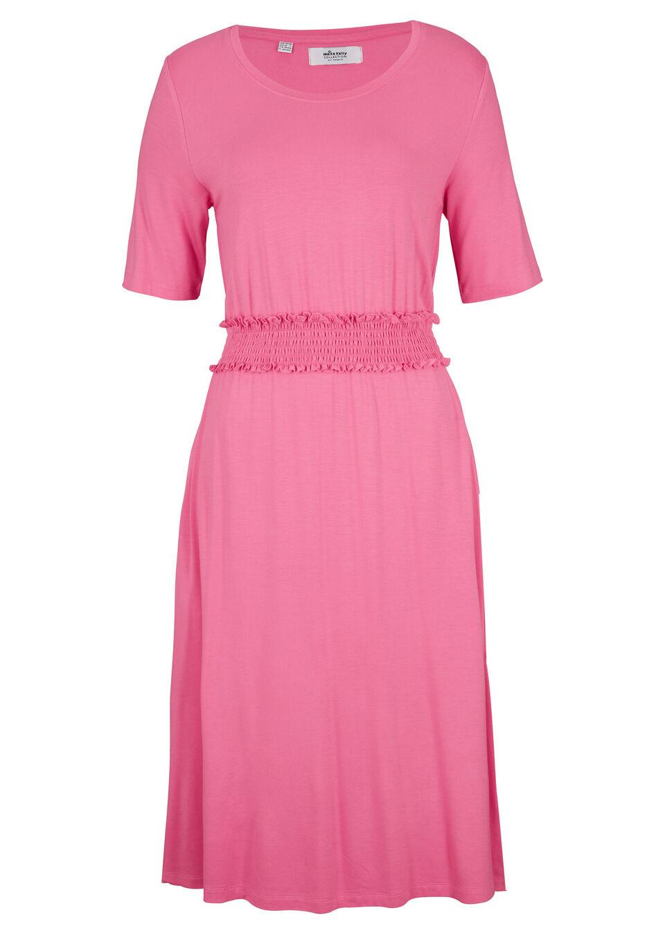 Sukienka z dżerseju z przeszyciem cienkimi gumkami, z kolekcji Maite Kelly bonprix matowy różowy
