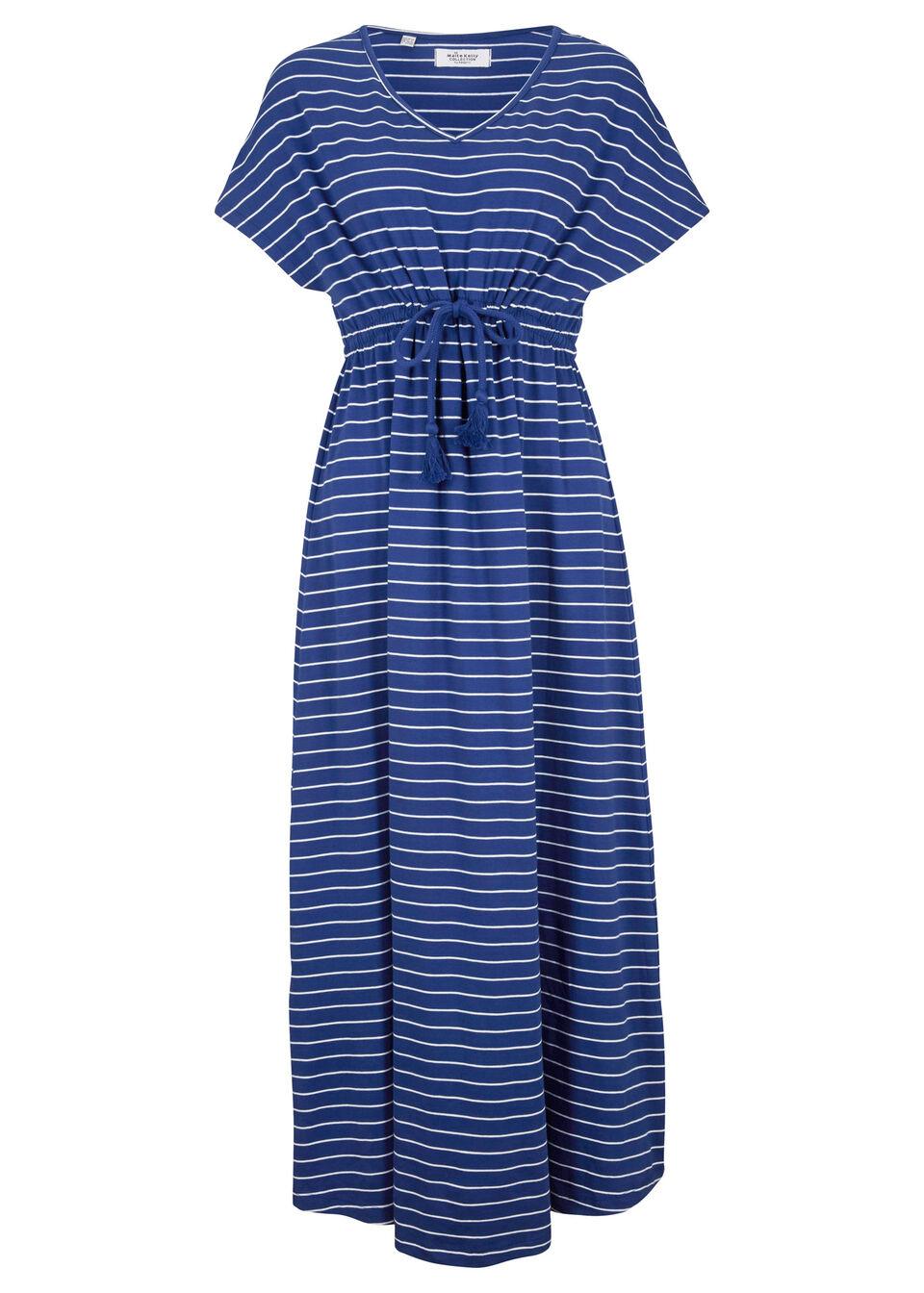 Sukienka maxi z dżerseju z kolekcji Maite Kelly bonprix kobaltowo-biały w paski