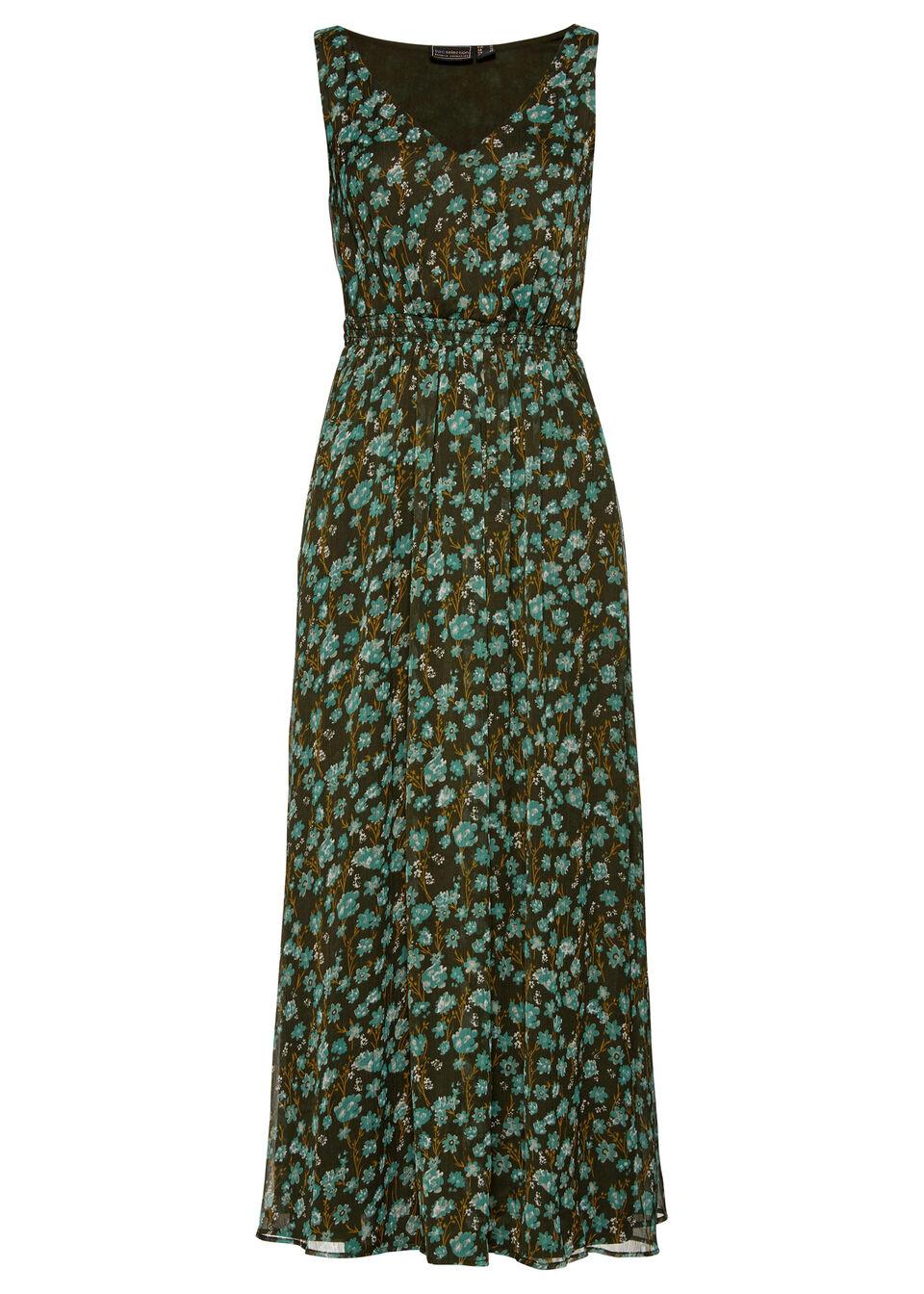 Sukienka szyfonowa bonprix nocny oliwkowy - zielony w kwiaty