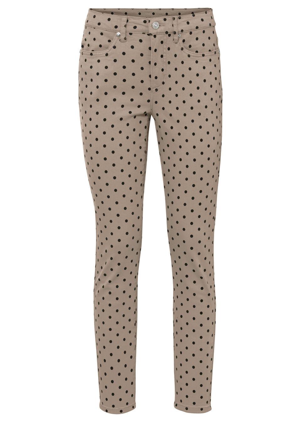 Spodnie ze stretchem z nadrukiem bonprix brunatno-czarny w groszki