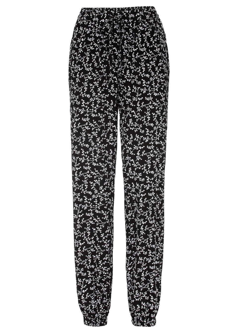 Szerokie spodnie bonprix czarno-biel wełny w kwiaty
