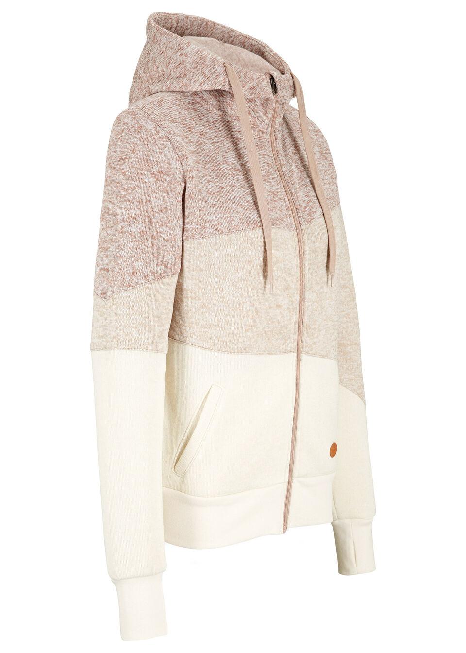 Bluza rozpinana z polaru z poliestru z recyklingu, długi rękaw bonprix beżowy