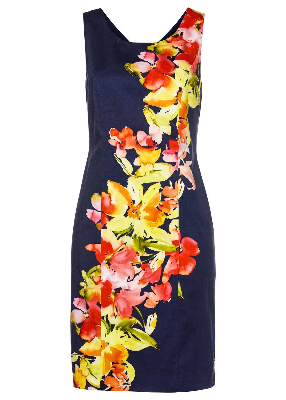 Sukienka ołówkowa z nadrukiem bonprix ciemnoniebiesko-jasnoczerwony w kwiaty