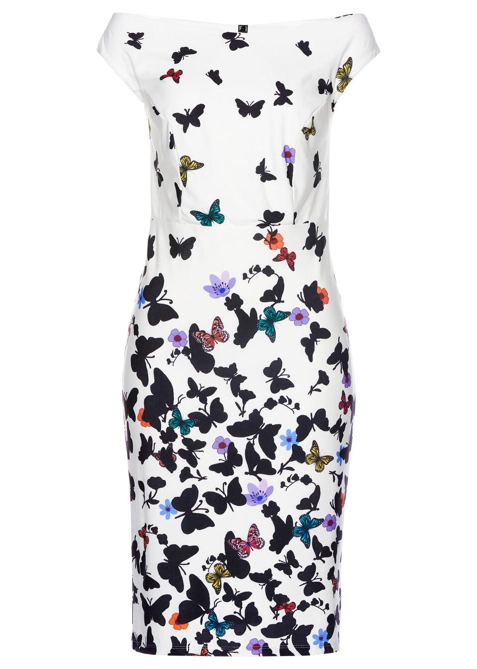 Sukienka bonprix biały w kwiaty