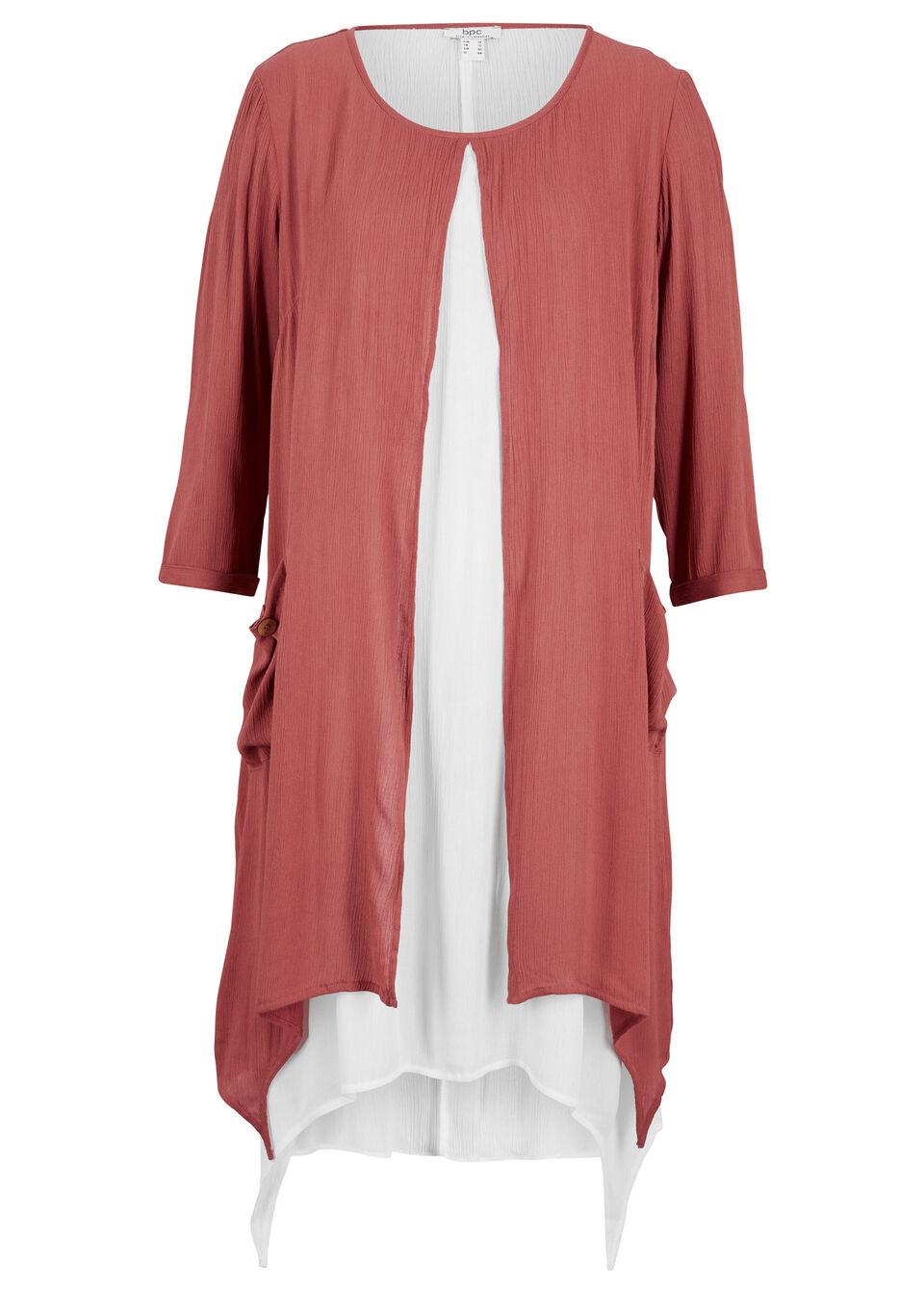 Sukienka z krepy w optyce dwuwarstwowej, z dłuższymi bokami bonprix brązowy marsala - biel wełny