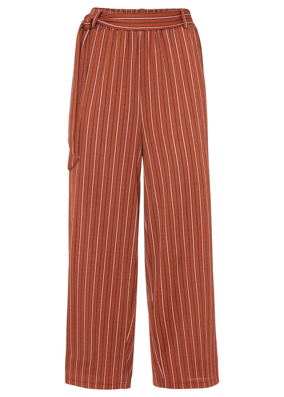 Spodnie culotte w paski bonprix cynamonowo-jasnoróżowy w paski