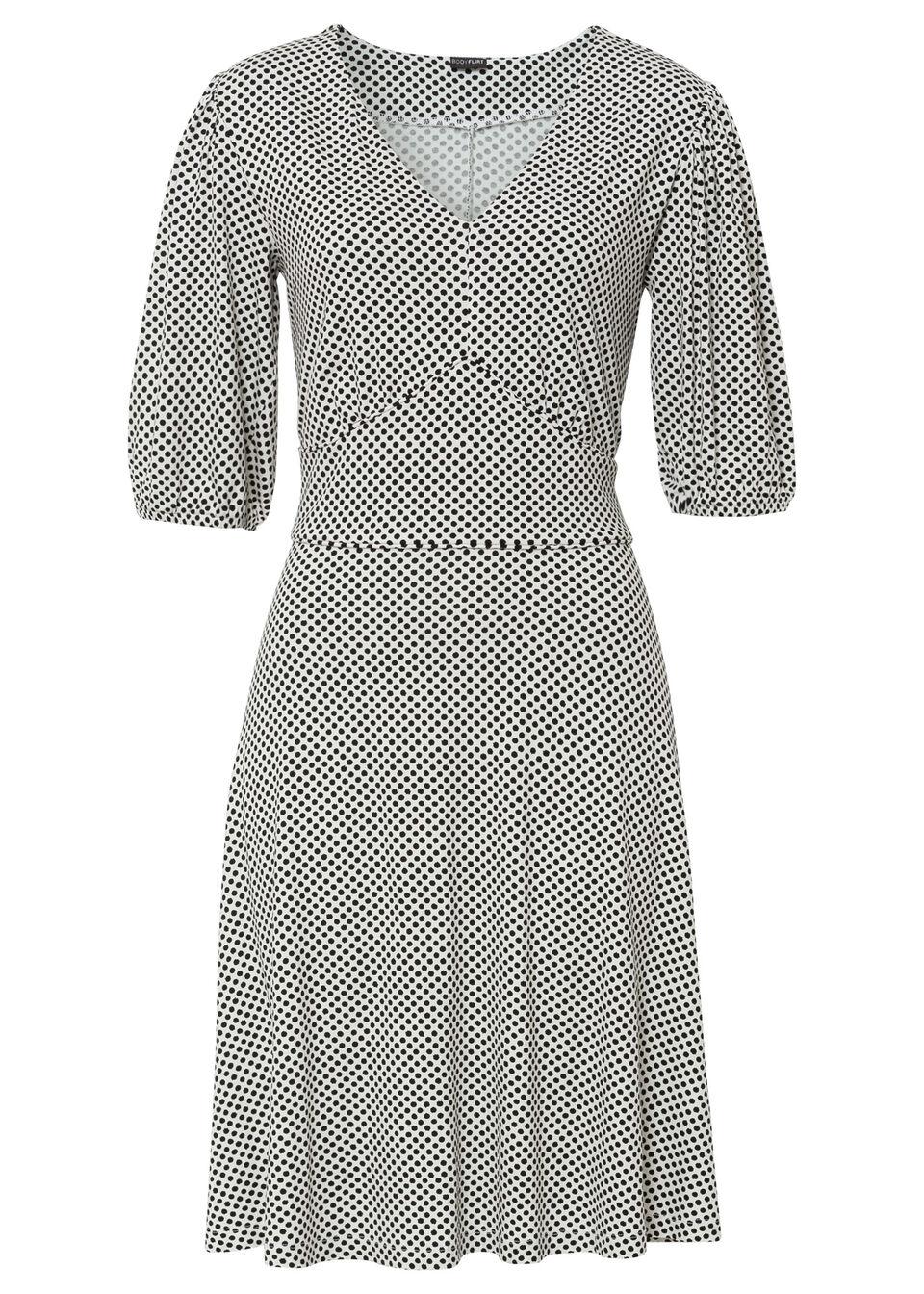 Sukienka z dżerseju LENZING™ ECOVERO™ bonprix biel wełny - czarny w groszki