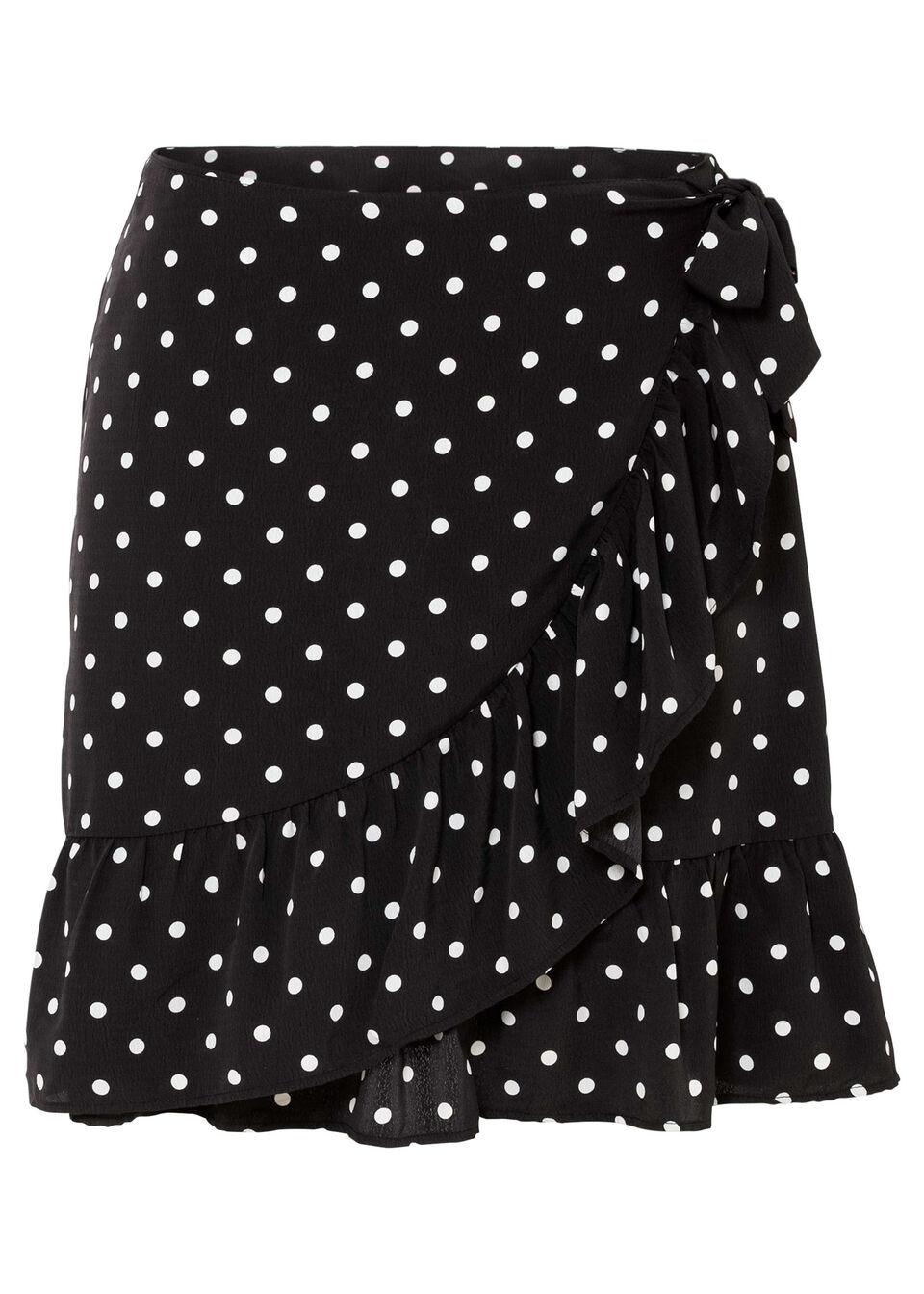 Spódnica kopertowa bonprix czarno-biel wełny w kropki