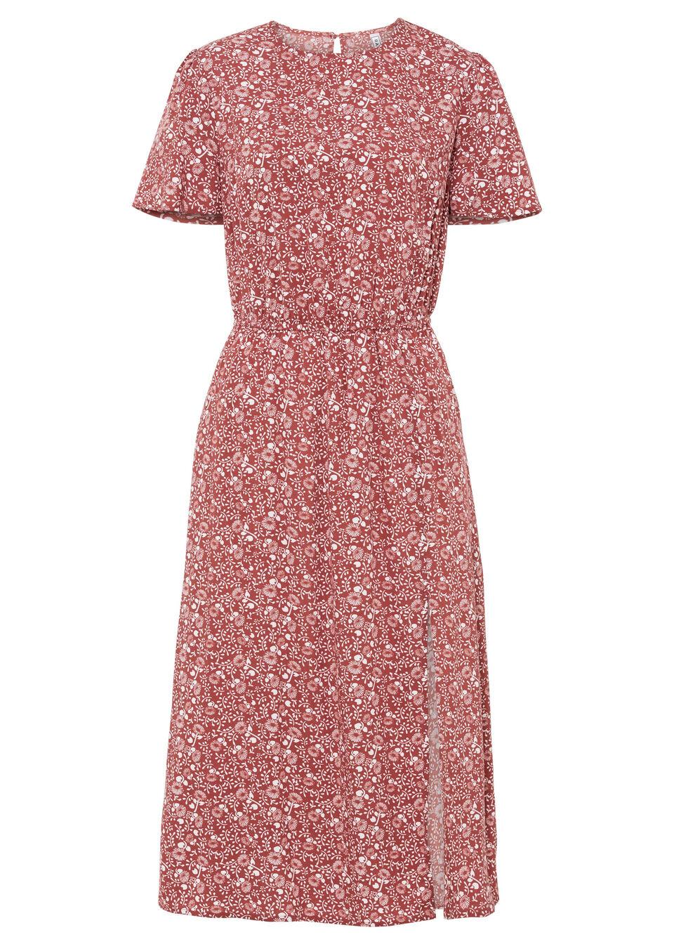 Sukienka w kwiaty i z rozcięciem, LENZING™ ECOVERO™ bonprix brązowy marsala - biały w kwiaty