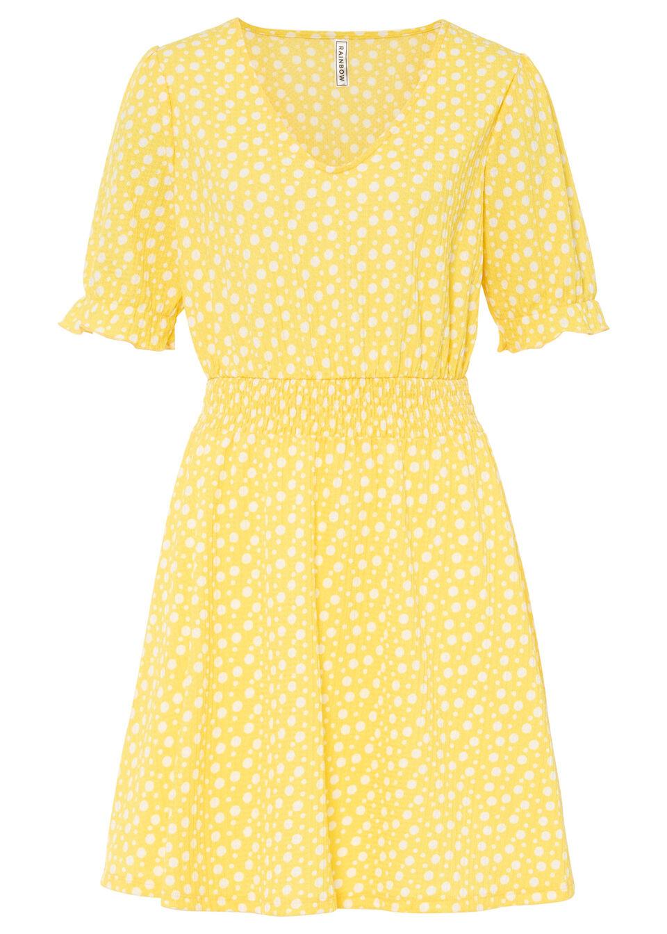 Sukienka shirtowa z kepy bonprix kremowy żółty - biały w kropki
