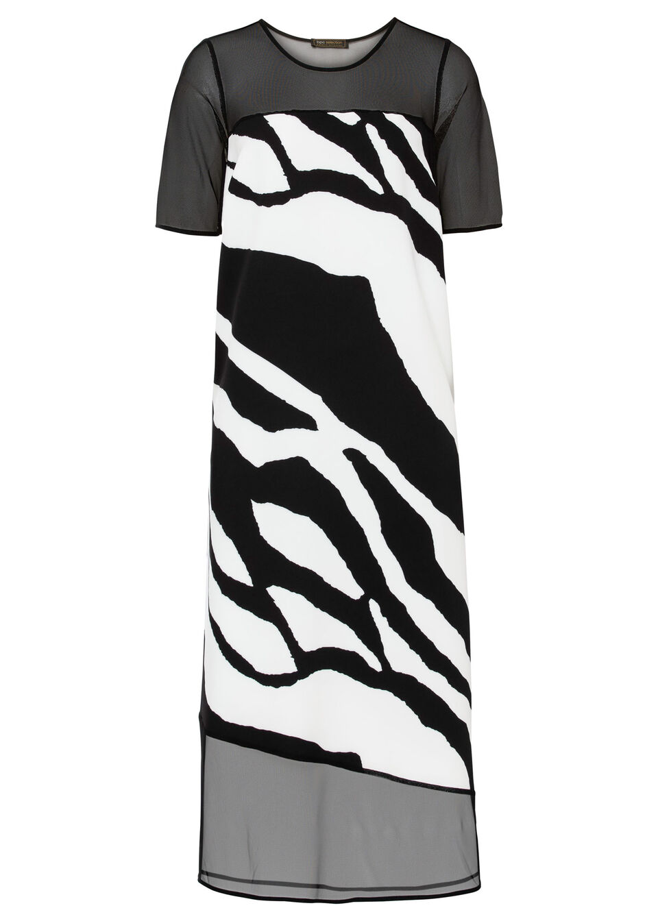 Sukienka midi z nadrukiem bonprix czarno-biały w paski zebry