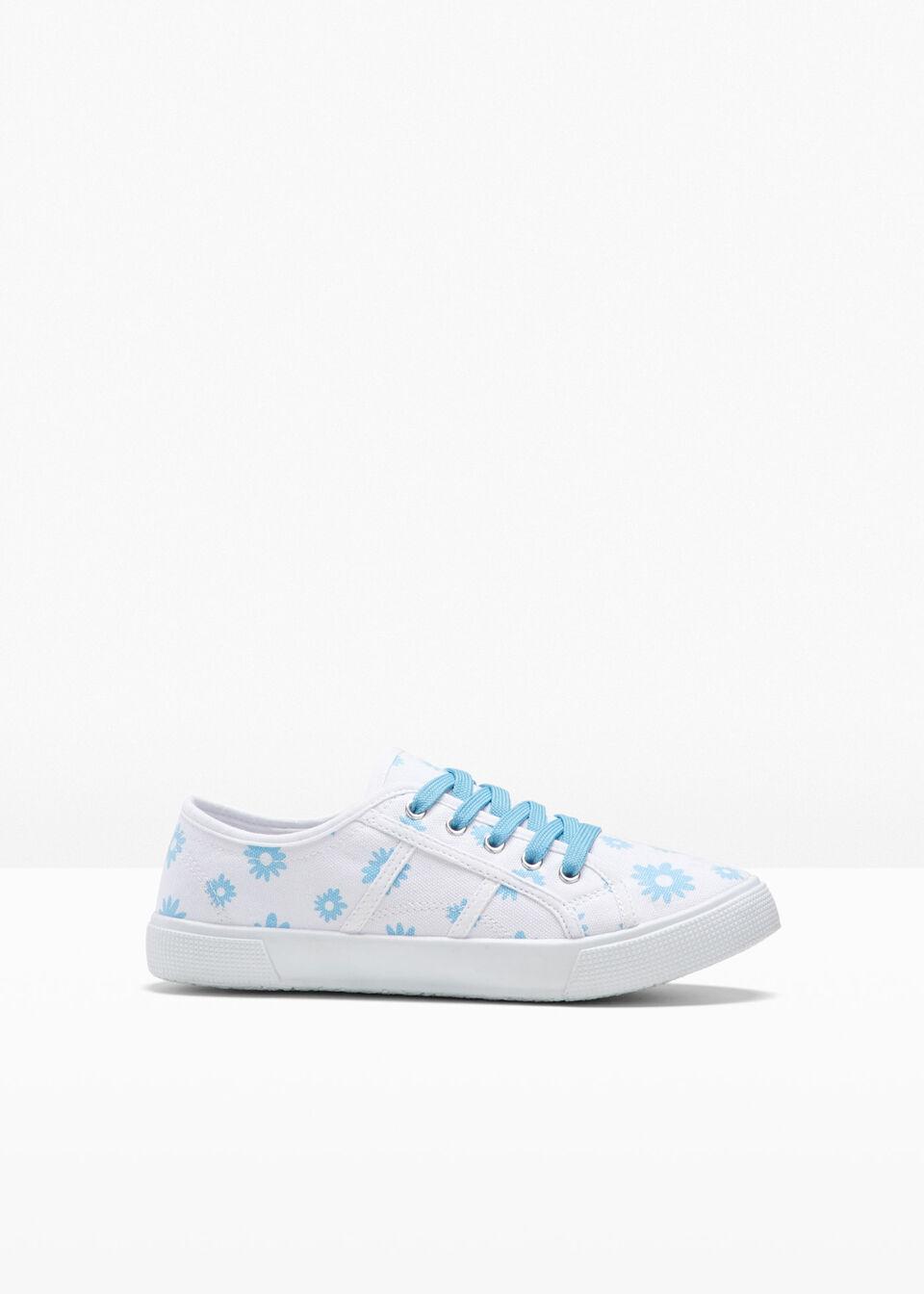 Sneakersy bonprix biały w kwiaty