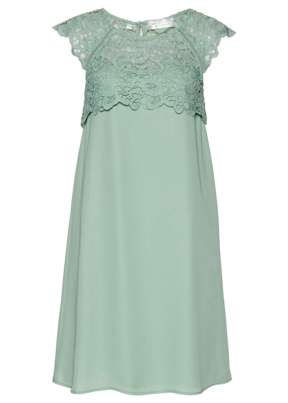Sukienka szyfonowa z koronką bonprix zielony pastelowy