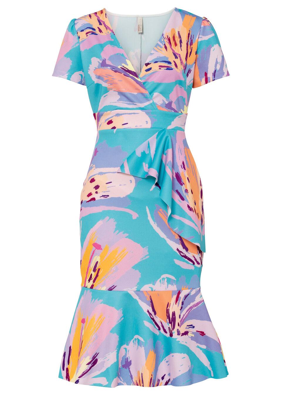 Sukienka bonprix turkusowy w kwiaty
