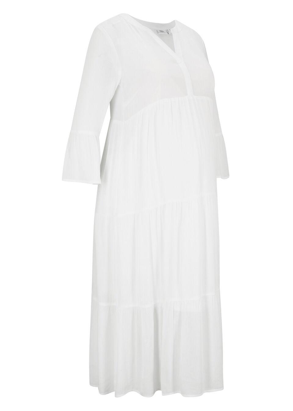 Sukienka ciążowa kaftanowa z wiskozy kreszowanej bonprix biel wełny