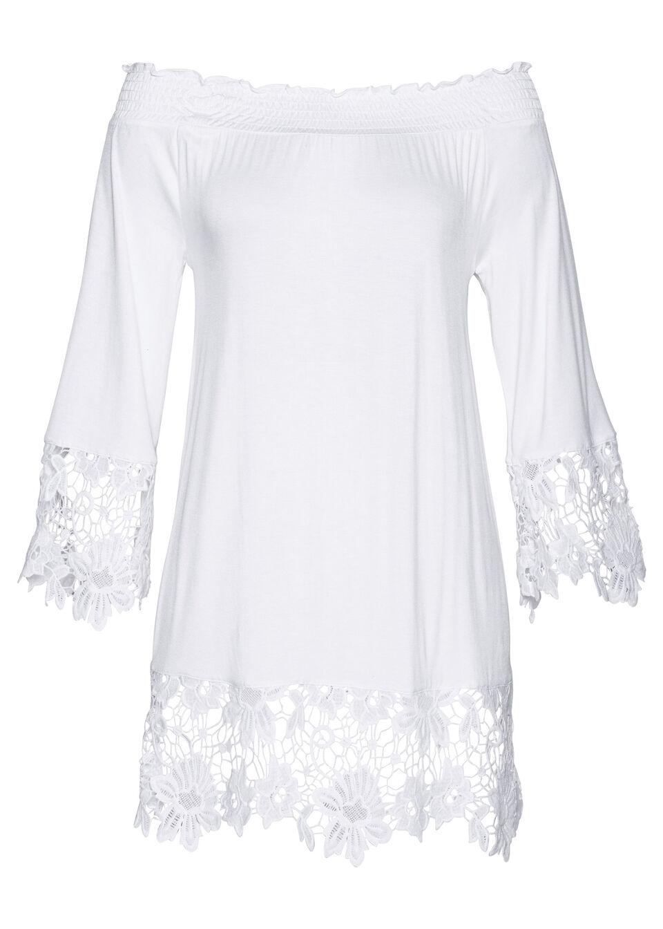 Tunika shirtowa z dekoltem carmen i koronką bonprix biały