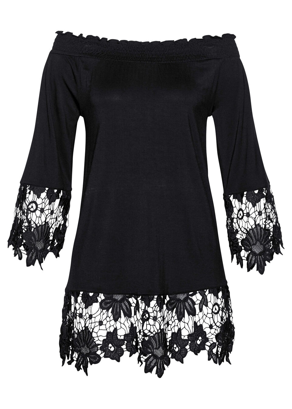 Tunika shirtowa z dekoltem carmen i koronką bonprix czarny