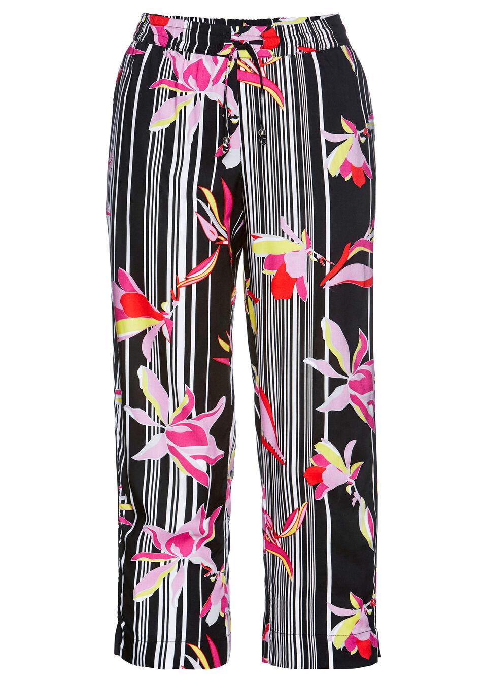 Spodnie 7/8 z wiskozy bonprix czarno-różowy