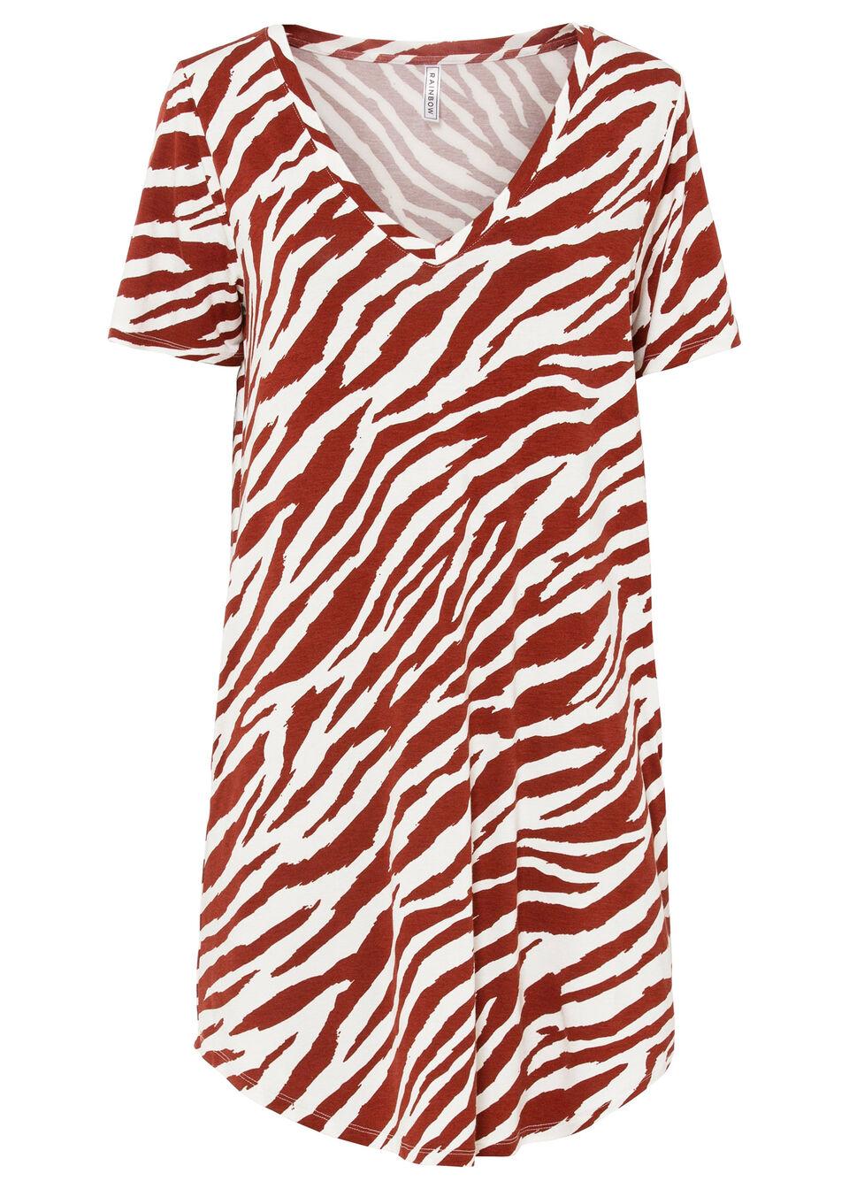 Sukienka shirtowa bonprix czerwony karminowy - biały w paski zebry
