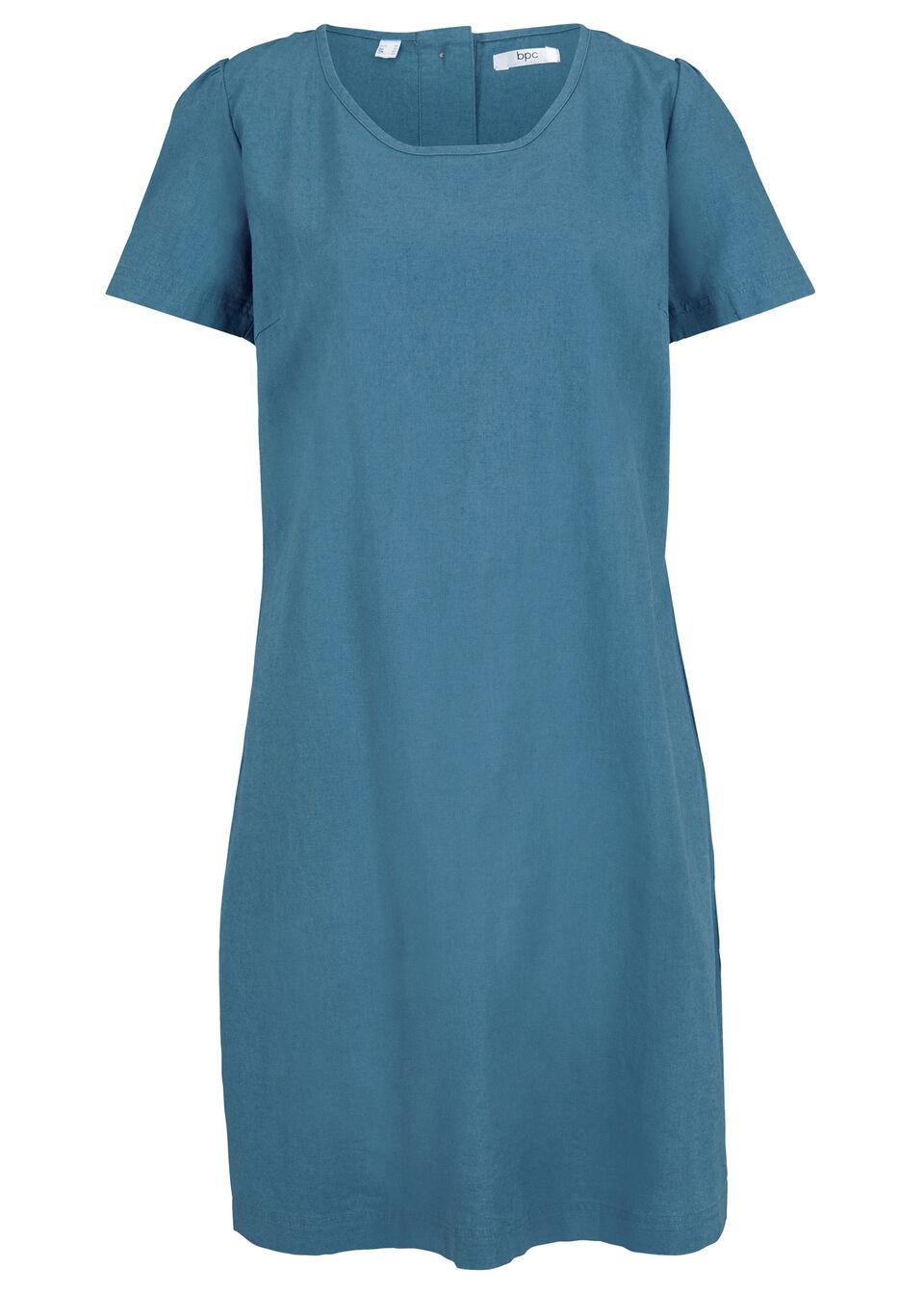 Sukienka lniana z plisą guzikową z tyłu bonprix niebieski dżins