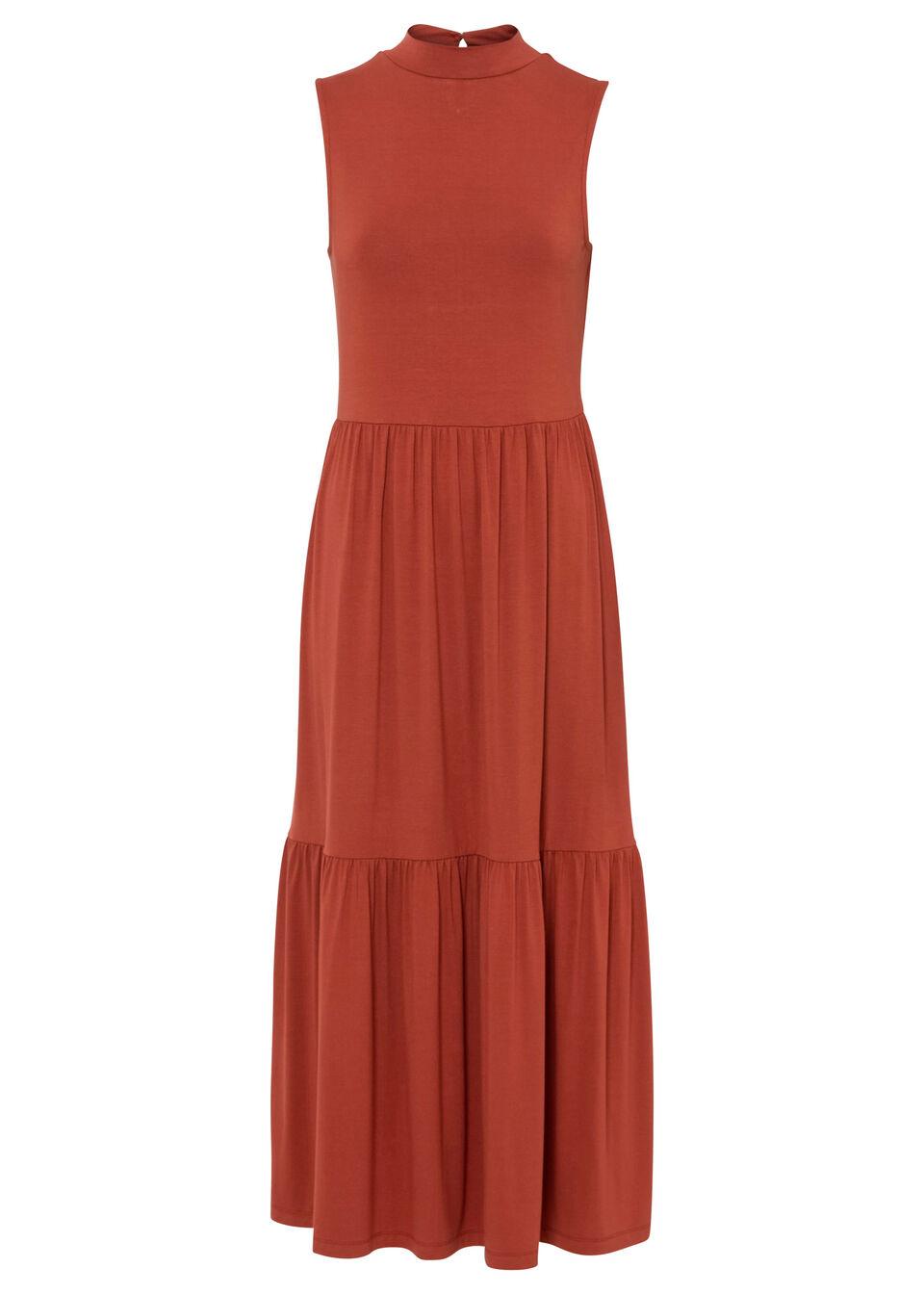 Sukienka midi z falban, z przyjaznej dla środowiska wiskozy bonprix brązowy marsala