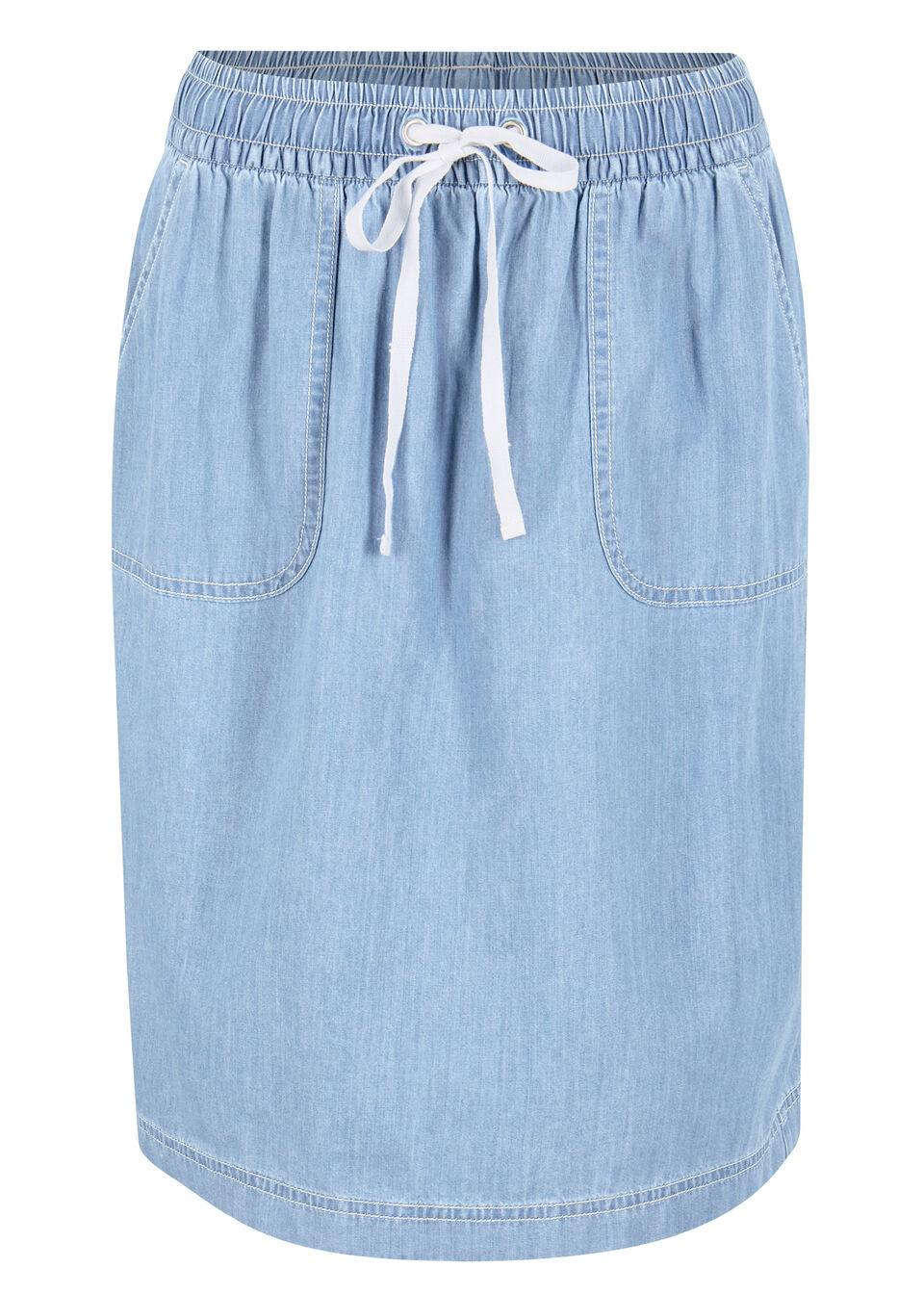 Spódnica dżinsowa z  wygodnym paskiem i kieszeniami bonprix jasnoniebieski denim
