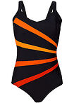 Costum de baie modelator, nivel 3 negru/oranj dungat bpc bonprix collection 11