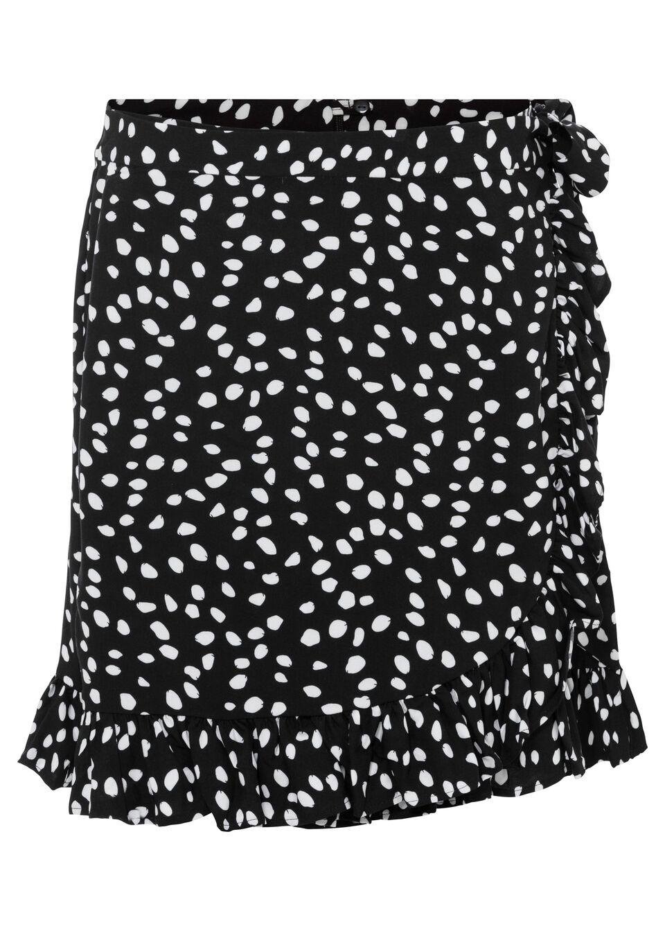 Szorty z nadrukiem bonprix czarno-biel wełny w groszki