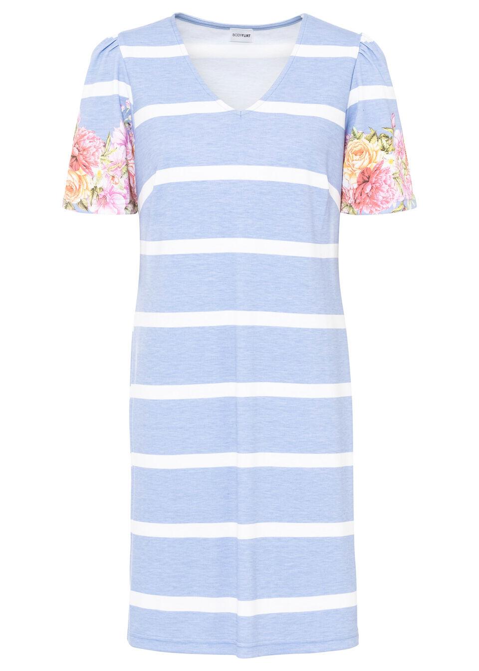 Sukienka shirtowa z rękawami bufkami bonprix perłowy niebieski - biały w paski