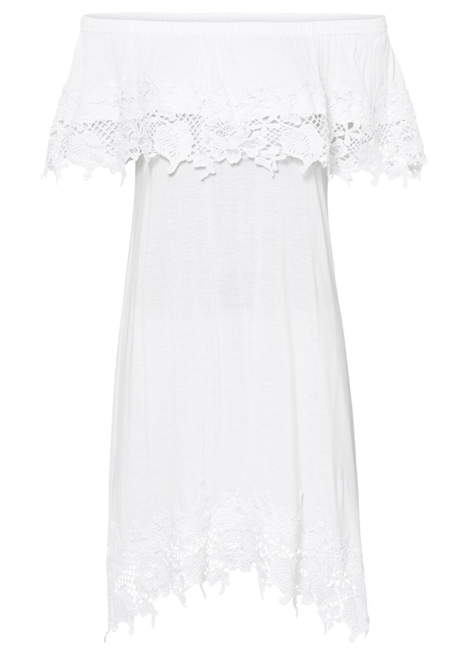 Sukienka z dekoltem carmen bonprix biały