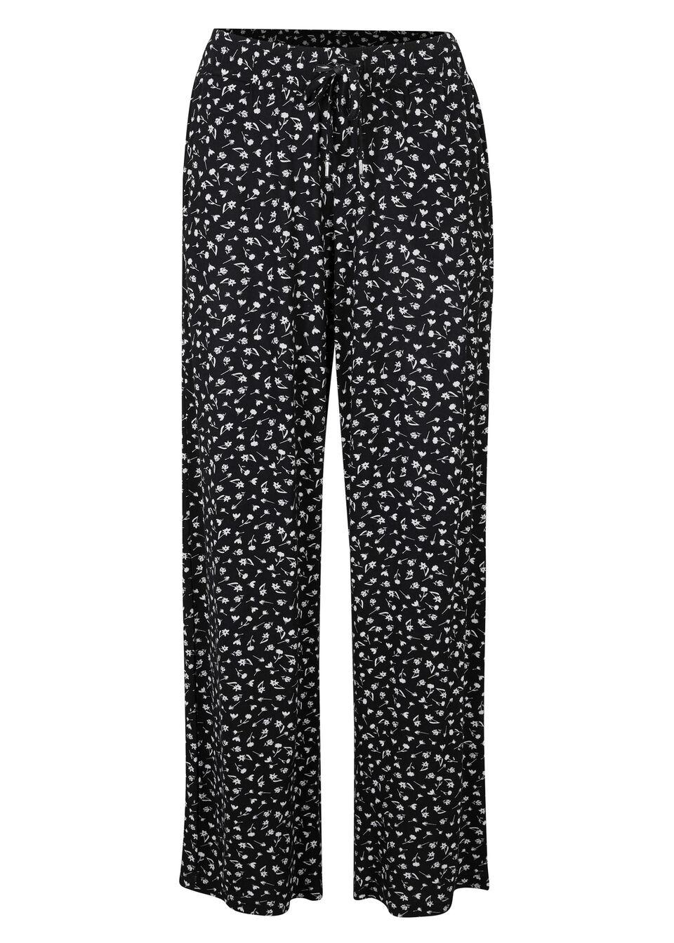 Spodnie z dżerseju bonprix czarno-biały w kwiaty