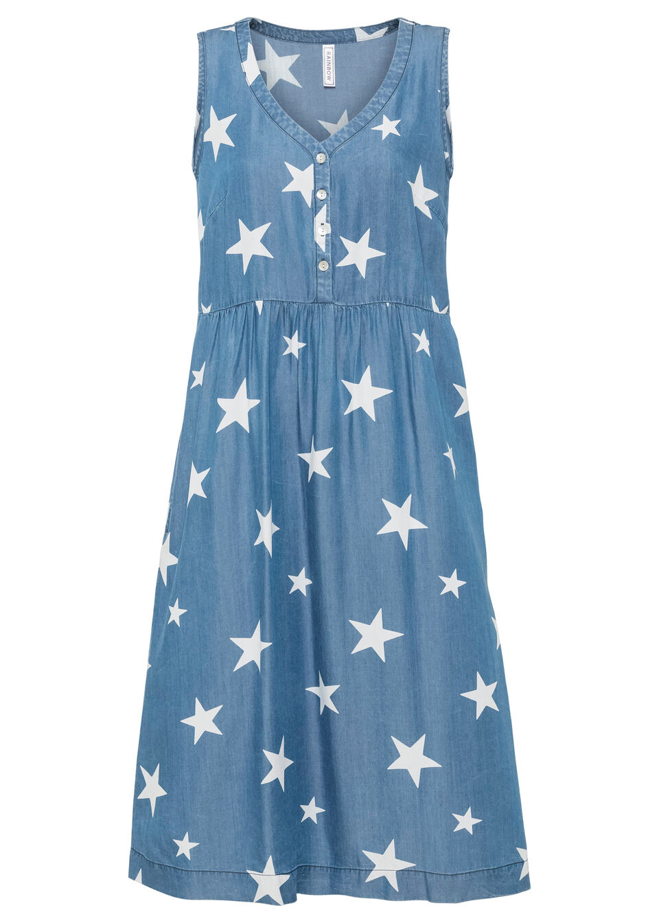 """Sukienka dżinsowa TENCEL™ Lyocell z nadrukiem w gwiazdy bonprix niebieski """"stone"""" z nadrukiem"""