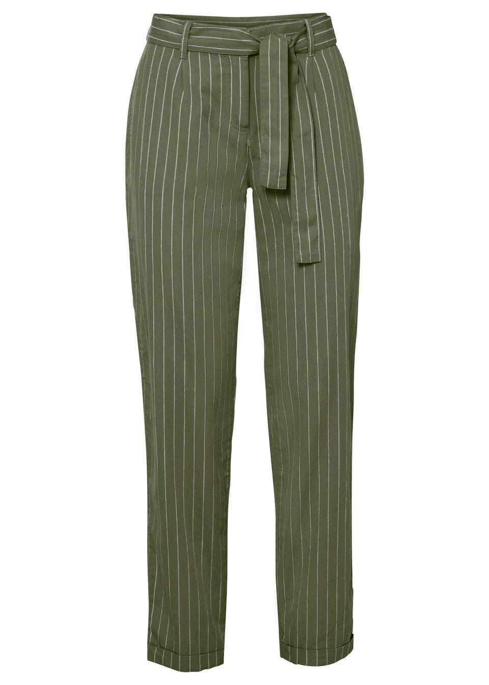 Spodnie bonprix ciemny khaki - biały w paski
