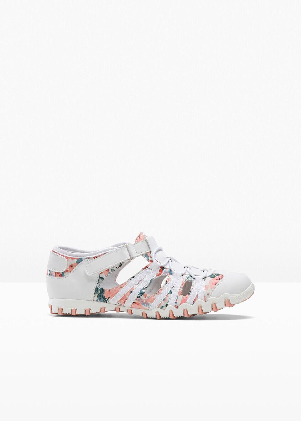 Buty wsuwane bonprix biały w kwiaty