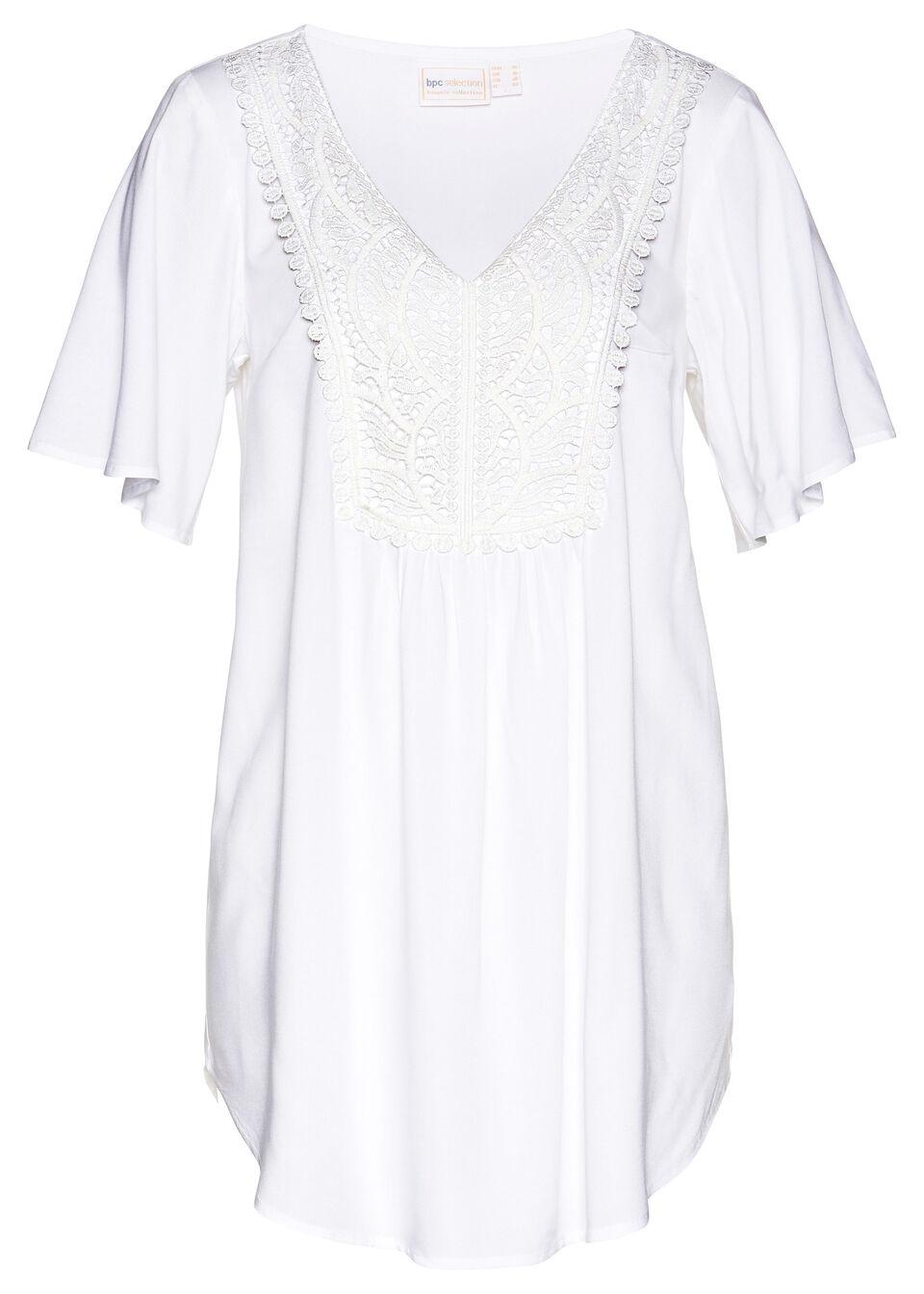 Bluzka z koronką bonprix biały