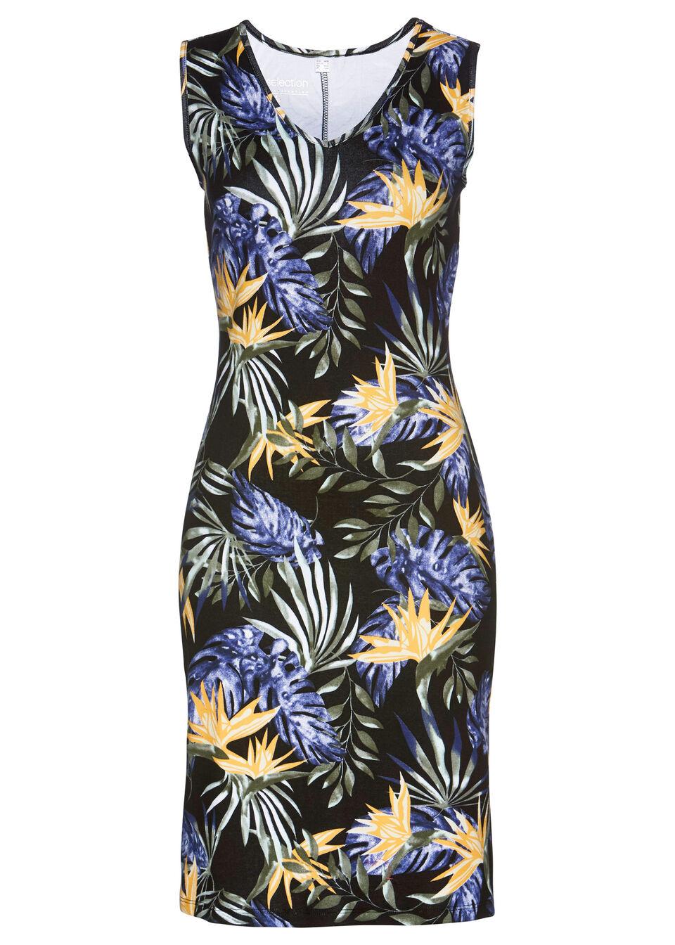 Sukienka shirtowa bonprix czarny z roślinnym nadrukiem
