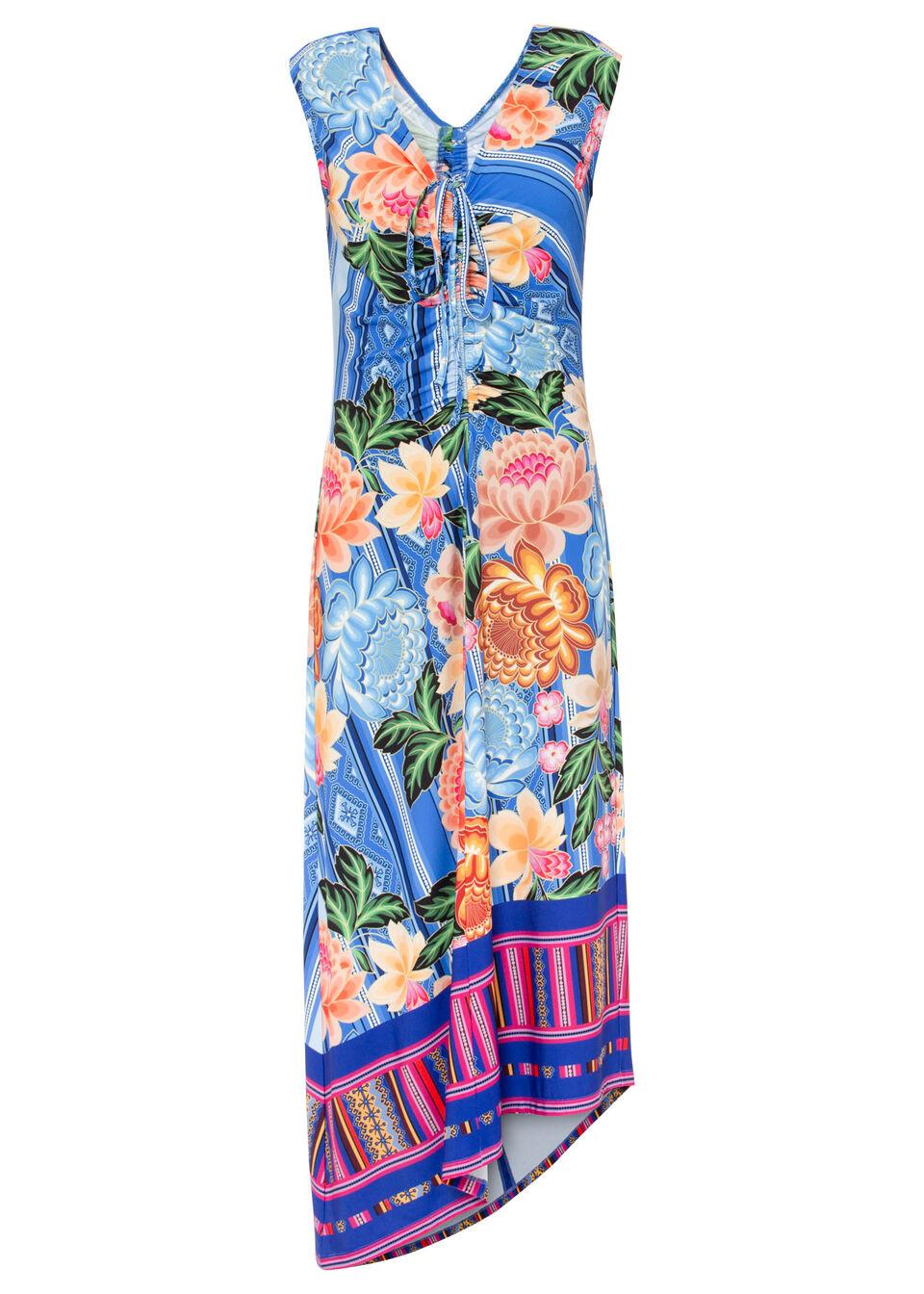 Sukienka z nadrukiem bonprix niebieski w kwiaty