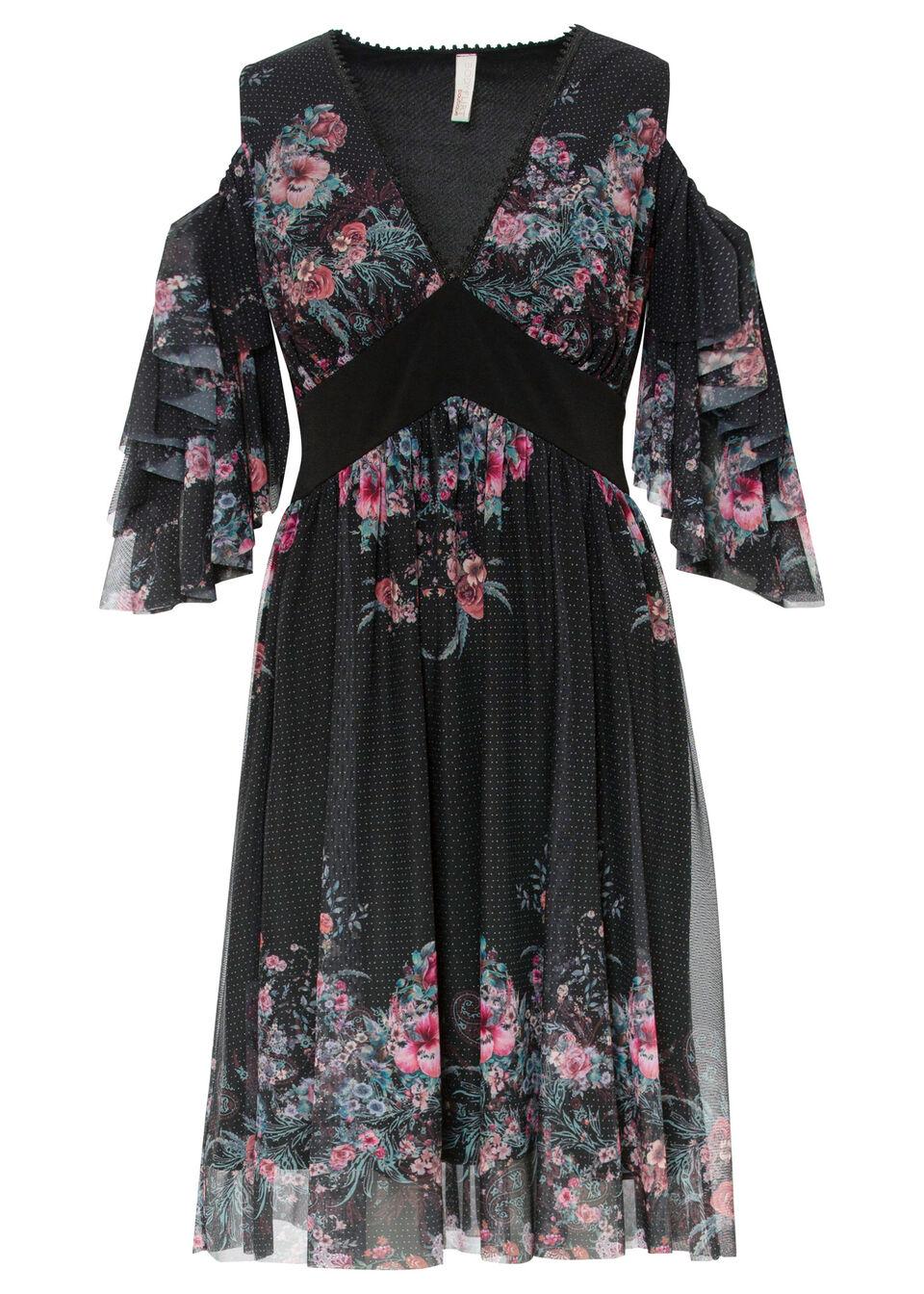 Sukienka cold-shoulder bonprix czarny w kwiaty