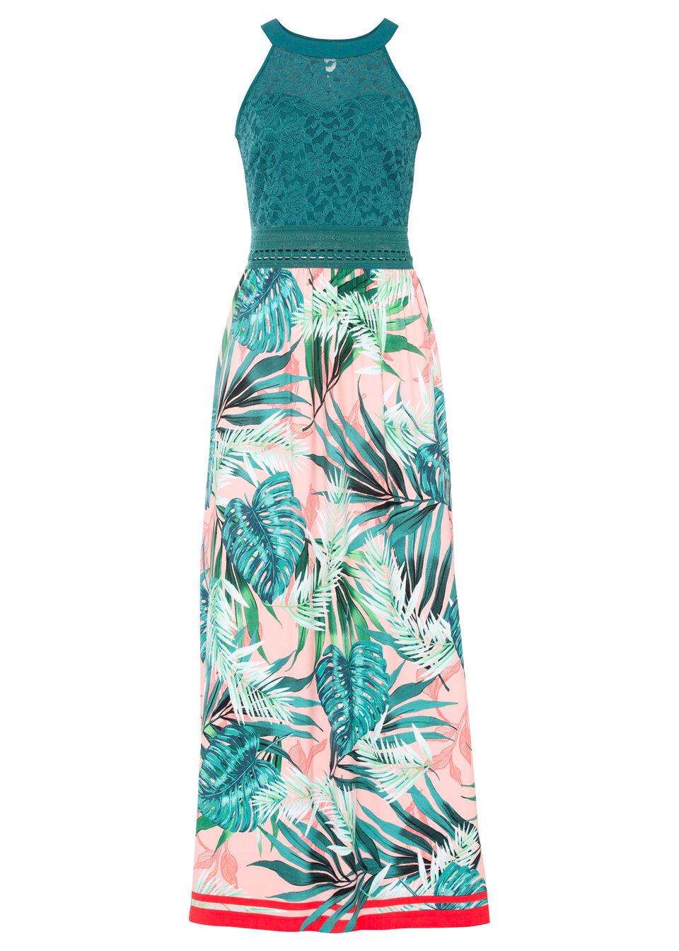 Długa sukienka z nadrukiem i koronką bonprix różowo-zielony z roślinnym nadrukiem