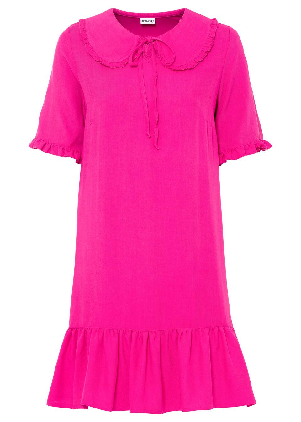 Sukienka koszulowa z zaokrąglonym kołnierzykiem bonprix różowy