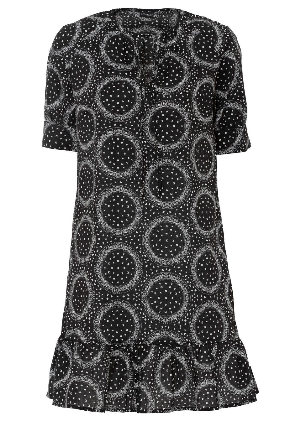 Sukienka z wiązanym paskiem bonprix czarny z nadrukiem