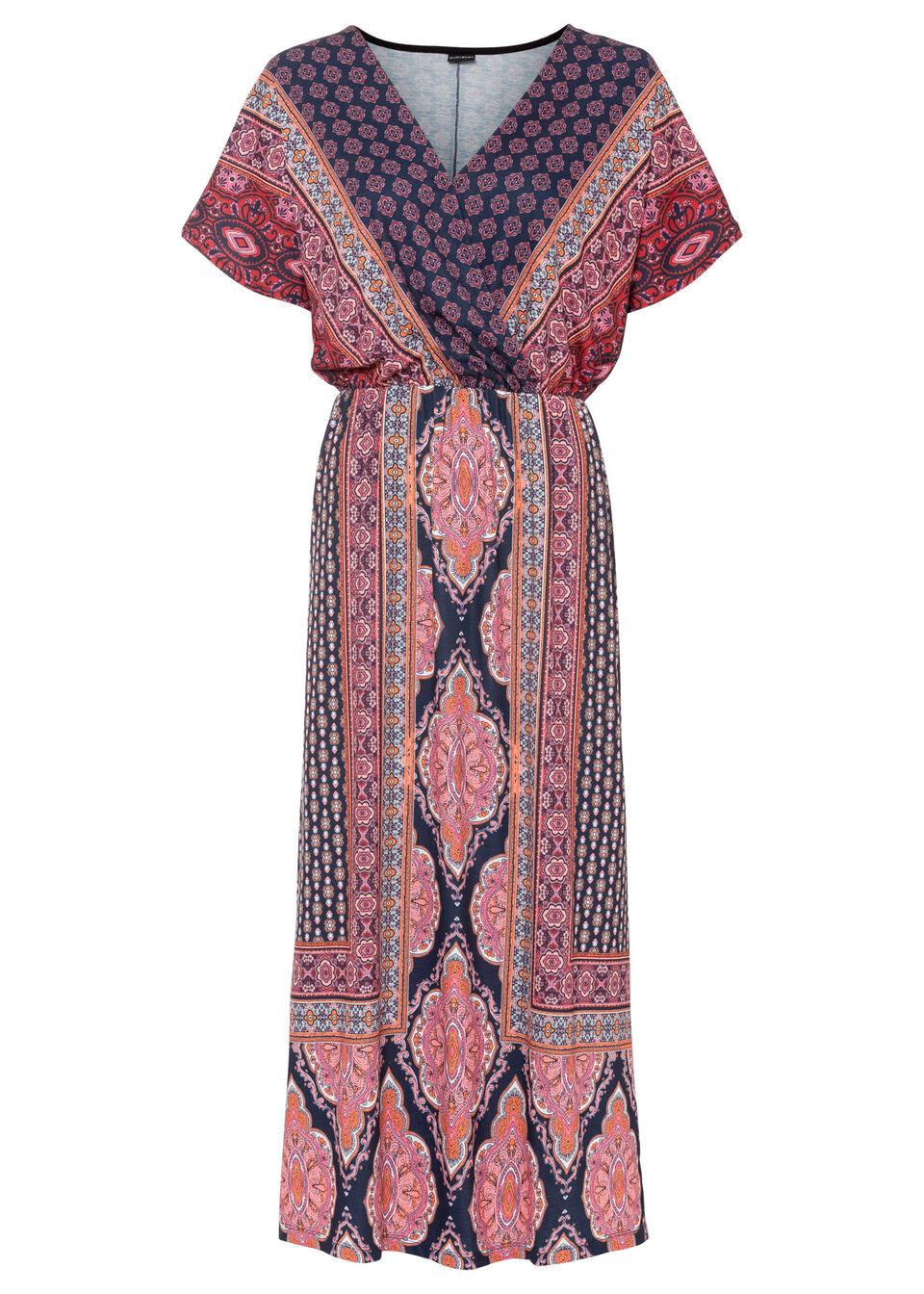 Długa sukienka z nadrukiem bonprix ciemnoniebiesko-różowy w graficzny wzór