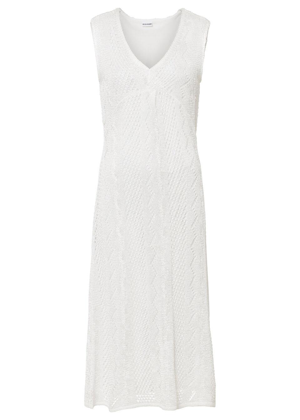 Sukienka dzianinowa w ażurowy wzór bonprix biel wełny