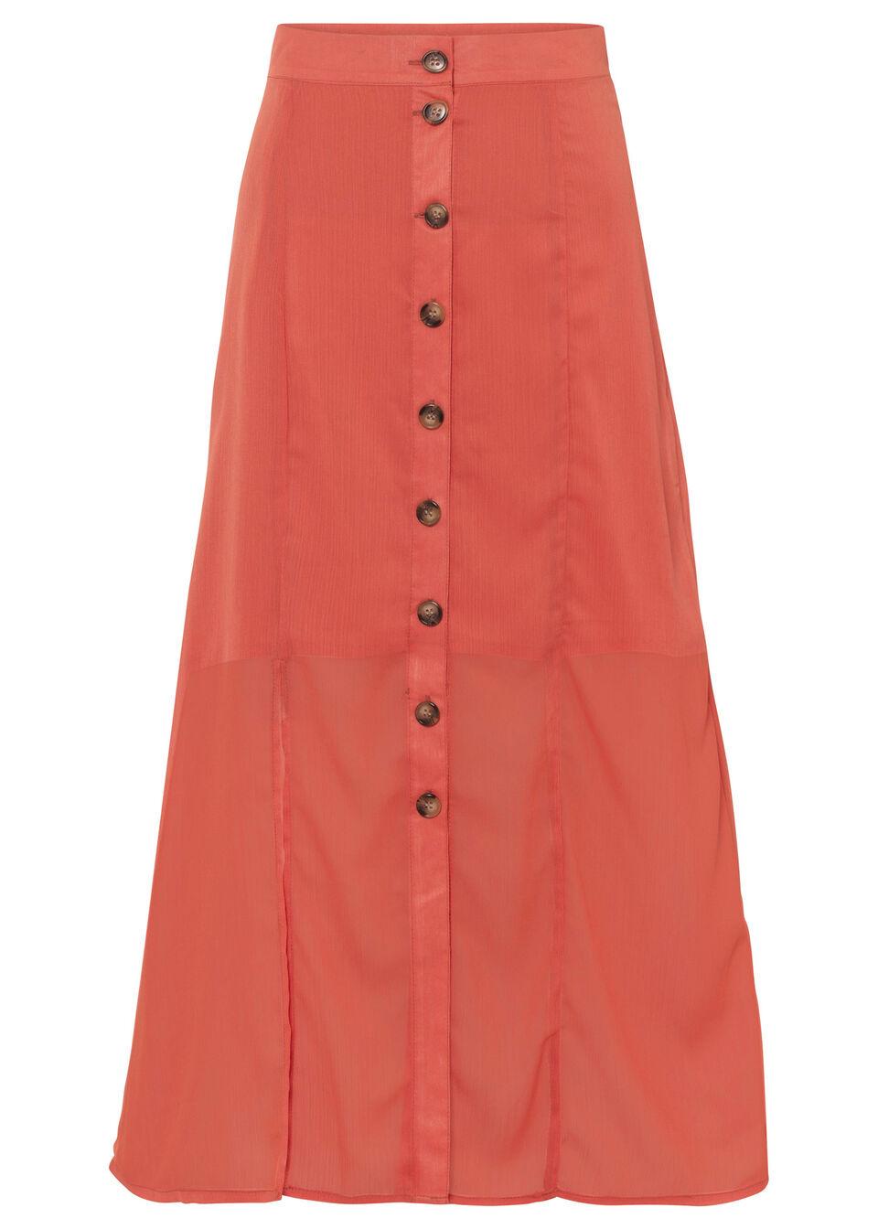 Spódnica midi z plisą guzikową, z poliestru z recyklingu bonprix czerwony cynamonowy