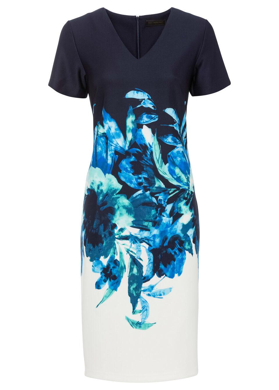 Sukienka ołówkowa z nadrukiem bonprix ciemnoniebiesko-biało-morski w kwiaty