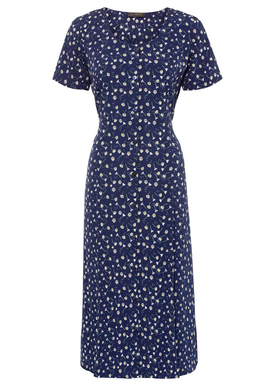 Sukienka midi z nadrukiem bonprix ciemnoniebiesko-biały w kwiaty
